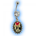 Cameo Belly Bar with Skull design
