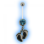 Aqua Footsteps Pregnancy Belly Bar