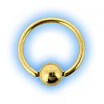 1.6mm (14g) Gold Plated Ball Closure Ring
