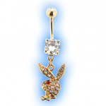 Gold Plated Dangling Playboy Belly Bar Red Eye