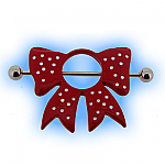 Red Polka Dot Bow Nipple Shield