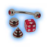 Red interchangeable Eyebrow Bar set