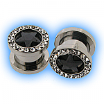 Clear and Black Gem Star Set Steel Screw Tunnel