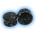 Semi Precious Stone Ear Plug - Snowflake Obsidian