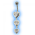 Silver Encased Clear Heart Trio Belly Bar