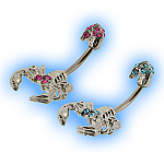 Through the Navel Jewelled Scorpion Belly Bar
