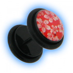 Fake Ear Plug Black Acrylic with Pink Cherry Blossom Design