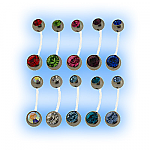 Swarovski Double Jewelled Bioplast Belly Bar - 27 Jewel Colours