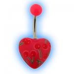 Pink Heart Acrylic Belly Bar with Retro Cherry Design