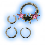 Septum Captive Bead Ring with 3 Stars