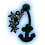 Black PVD Coated Steel Belly Bar - Anchor and Stars