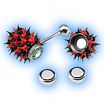 Red Black Koosh Vibrating Tongue Stud - Vibrating Tongue Bar