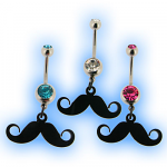 Belly Bar with dangling Moustache (Mustache)