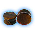 Semi Precious Stone Ear Plug - Tigers Eye
