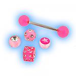 Interchangeable Tongue Bar - Pink Acrylic