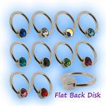 1.2mm Steel Flat Back Ball Closure Ring - Jewel