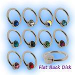 1.2mm Steel Flat Back Ball Closure Ring - Jewel