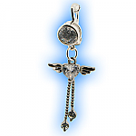 Fake Belly Ring with Clear Angel Heart with Dangles