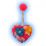 Pink Heart Acrylic Belly Bar with Floral Design