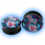 Acrylic Screw Plug Psychedelic Cat Design