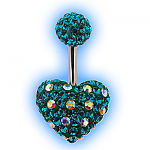 Dotty Crystal Disco Heart Belly Bar - Blue Zircon