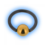 1.6mm (14g) Titanium Black PVD Ball Closure Ring - Gold Plated Ball