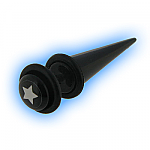 Fake Straight Ear Expander Black Acrylic Star