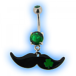 Belly Bar - Moustache (Mustache) with Shamrock