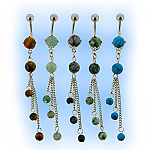 Natural Stone Belly Bar - Trio Dangle