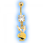 Gold Plated Dangling Playboy Belly Bar Crystal Ears
