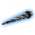 Acrylic Expander Taper for Stretched Ear Lobes - Zebra