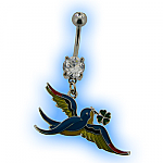 Belly Bar - Lucky Swallow with 4 Leaf Clover