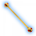 Gold Plated Red Multi Jewelled Industrial Scaffold Barbell