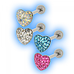 Tongue Bar with Multi Jewelled Heart