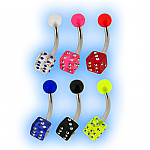 Lucky Dice Acrylic Belly Bar
