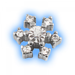 Stainless Steel Screw On Jewelled Snowflake - 1.6mm (14g)