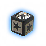 Black PVD Jewelled Star Cube Top - 1.6mm (14g)