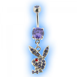 Playboy Dangly Lilac Jewelled Bunny Belly Bar
