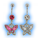 Dangling Ornate Butterfly Belly Bar