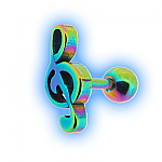 Rainbow Treble Clef Ear Stud Musical Ear Jewellery
