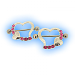 Pair Pink Jewelled Heart Nipple Shields
