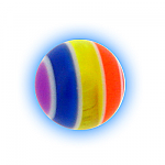 Spare Body Jewellery Ball - 1.6mm (14g) Acrylic Rainbow Stripe