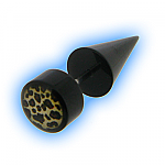 Fake Ear Taper Black Acrylic Leopard Print