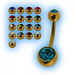 Gold Plated Jewelled Belly Bar Bananabell