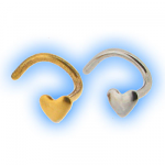 316 Stainless Steel Bent Heart Nose Stud