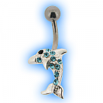 Belly Bar with Aqua Jewelled Dolphin