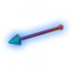 Rainbow Titanium Cone End Nose Bone - 0.8mm (20g)