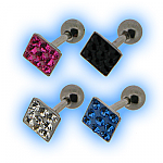 Tragus or Upper Ear Stud - Multi Jewelled Square