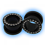 Ear Stretching Tunnel - Clear Gem Set Black Acrylic Screw Tunnel