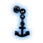 Black PVD Dangling Anchor Ear Tragus Stud